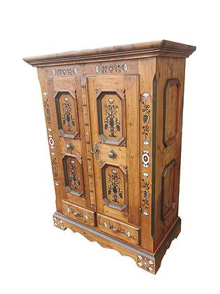 Anno 1700, braun antik, Bauernschrank, 2 Türen, 2 Schubladen