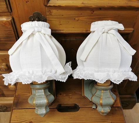Anno 1700, altblau, Wandlampen-Set, Schirm weiß