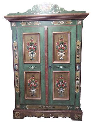 Anno 1800, altgrün, Bauernschrank, 2 Türen