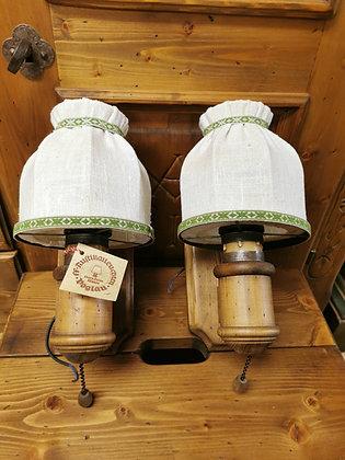 Wandlampen-Set, Anno 1600, Schirm weiß, Rand grün