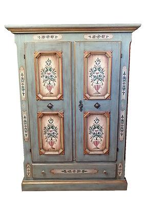 Anno 1700, altblau, Bauernschrank, 2 Türen, Schublade