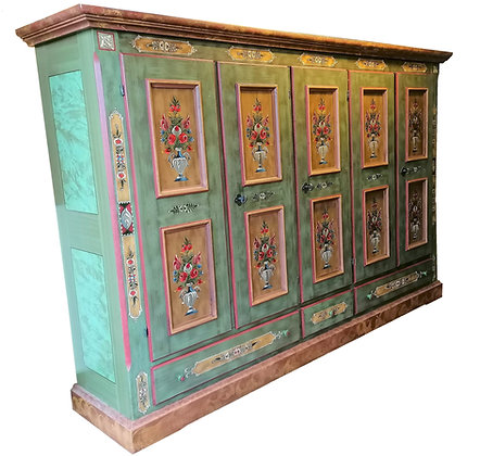 Anno 1800, altgrün, Bauernschrank, 5 Türen