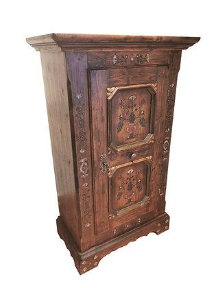 Anno 1700, braun antik, Bauernschrank, 1 Tür