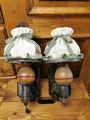 Wandlampen-Set, Schirm weiß/ grün-kariert
