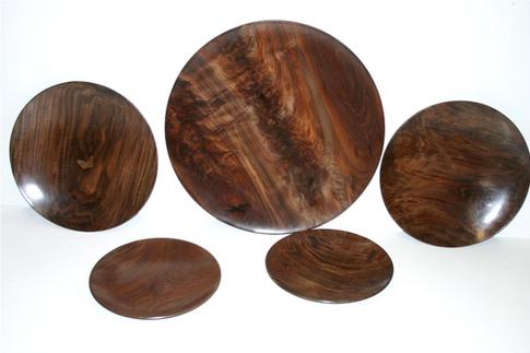 various walnut platters