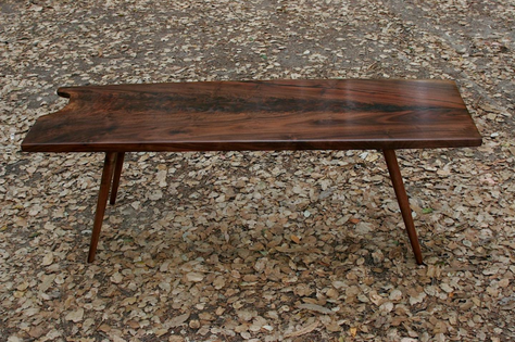 claro walnut coffee table / turned legs
