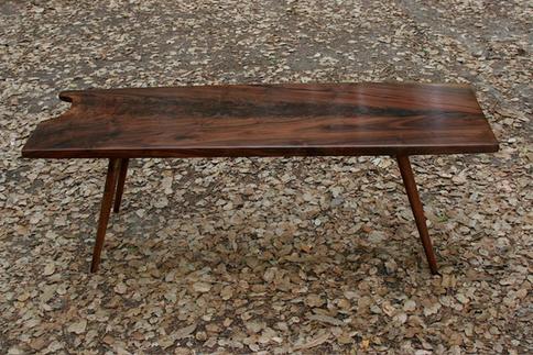 claro walnut coffee table / turned legs