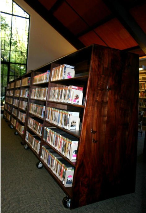moveable book cases/ walnut
