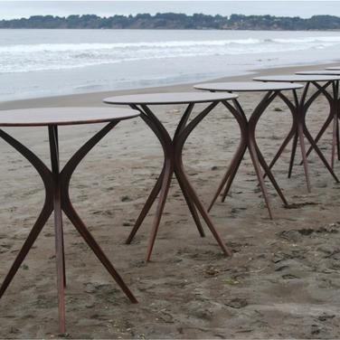 "bar tables/ 42"" high by 36"" diameter"