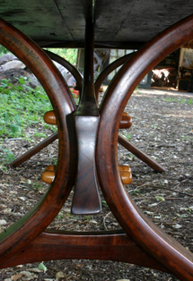 The legs to this table were inspired by the Golden Gate Bridge.