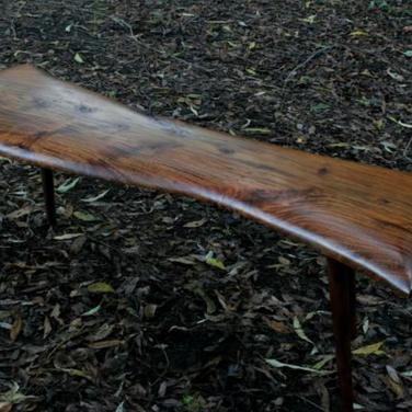 Tripp Carpenter : black acacia bench with turned walnut legs