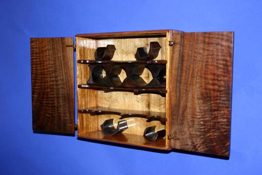 claro walnut and narra wall mounted jewelery box