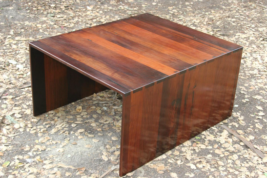 redwood table/ dovetail joints