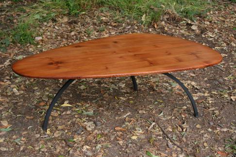 old growth redwood coffee table/ metal legs