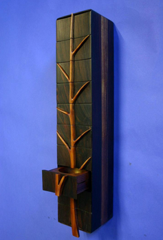 wall mount ebony &  madrone jewelry box