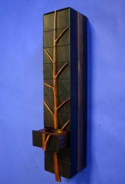 wall mount ebony &  madrone jewelry box