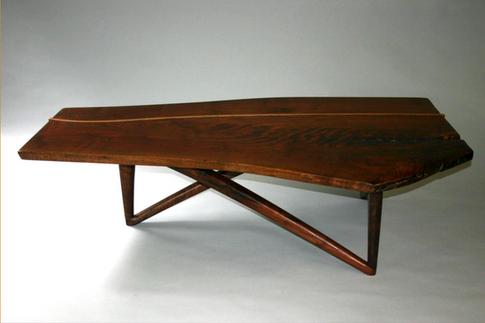 claro walnut coffee table /elm inlay