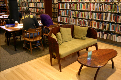 Mill Valley Library: loveseat with view of father's 1966 reading tables in background