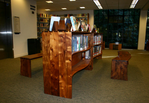 acacia standing book shelf w/ benches