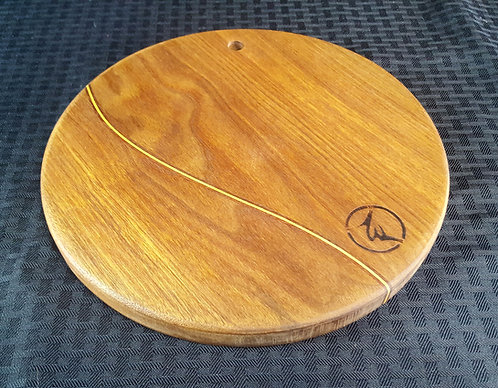 Small Round Board with Curved Wood Inlays