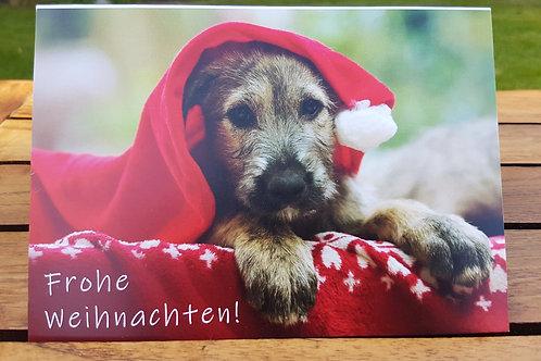 """Weihnachtskarte """"Welpe mit Weihnachtsmütze"""" Klappkarte"""