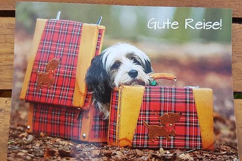 """Karte """"Gute Reise"""" Hund im Koffer"""