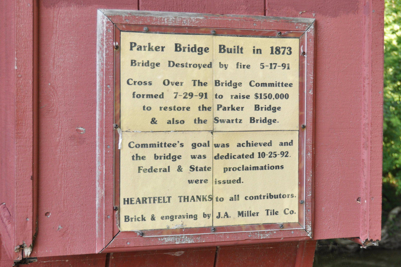 Parker Covered Bridge Information
