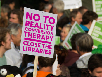 Evangelical Christians protest: Close Reality Conversion Therapy Centers.