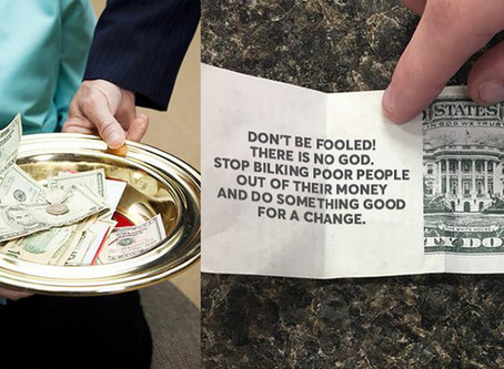 Church annoyed after '$20 donation' turned out to be lecture on Evolution.