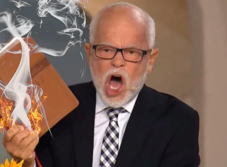 Jim Bakker stops swearing on the bible because it now burns.