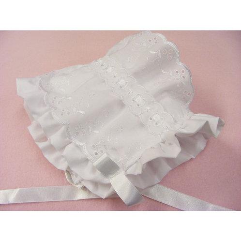 White Ribbon Frilly Bonnet