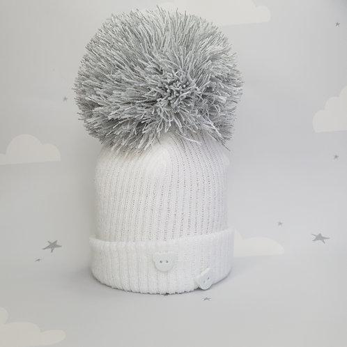 Ribbed Pom Hat Grey