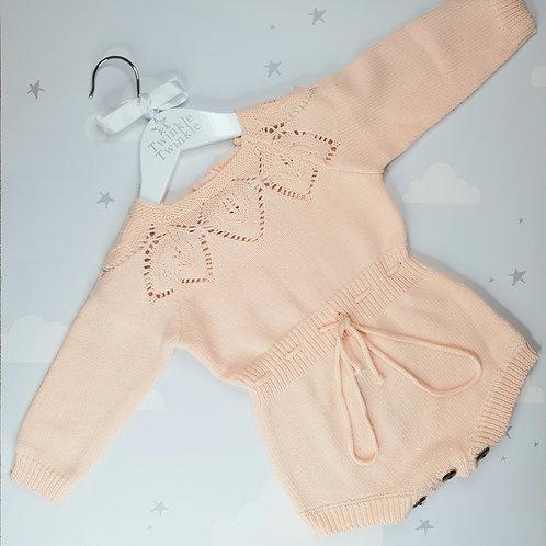 Knit Tie Romper Pink