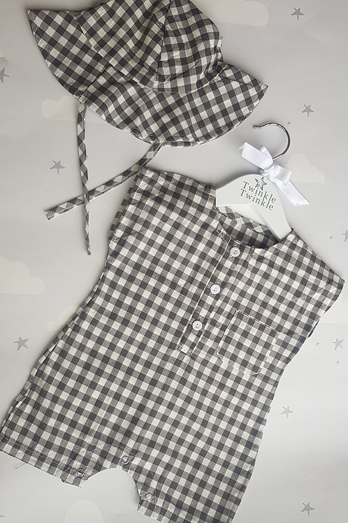 Black Check Romper and Hat