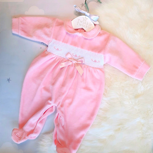 Smocked bow pink sleepsuit