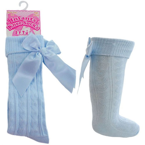Blue Bow Knee Length Socks