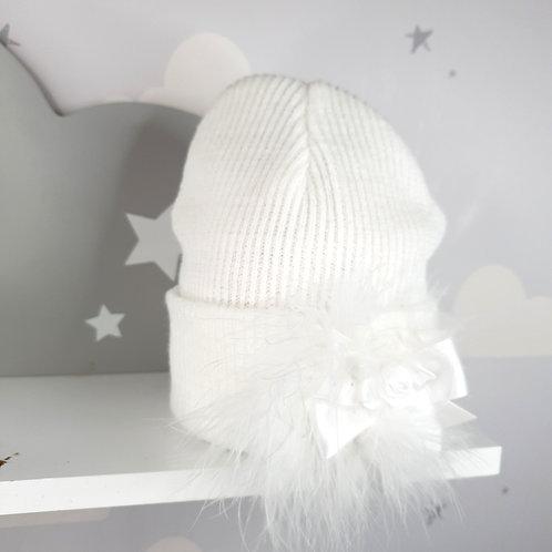 White Marabou Rosette Hat