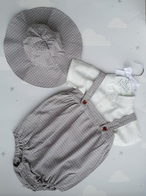 Grey Check Romper Set