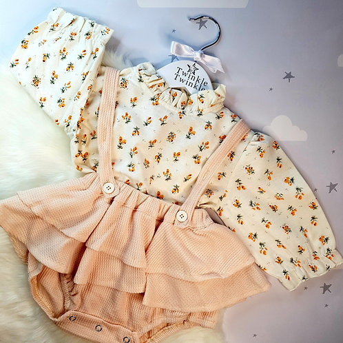 Floral and Frill Peach Autumn Two Piece