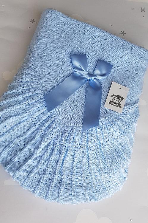 Ninas Y Nanos Luxury Blue Pleated Shawl