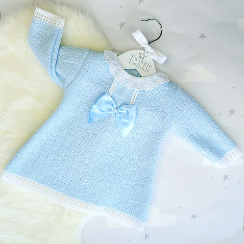 Blue Knitted Bow Dress