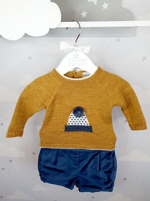 Knitted Bobble Hat Jumper and Short Set