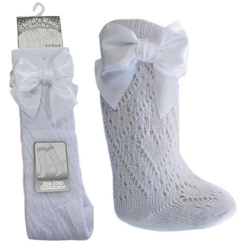 White Pelerine Knee Length Socks
