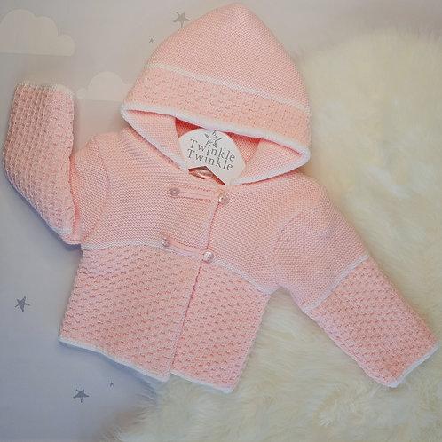 Knitted pram coat pink