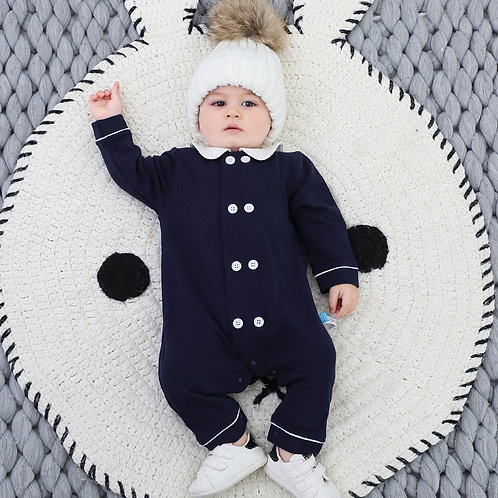 Navy and White Collared Romper