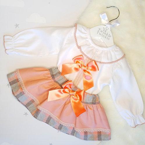 Spanish Tartan Skirt & Blouse Set