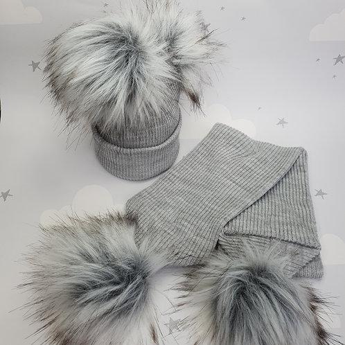 Pom Pom Hat and Scarf  Set, Grey