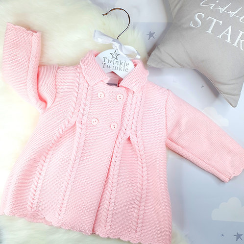 Knitted Long Coat Pink
