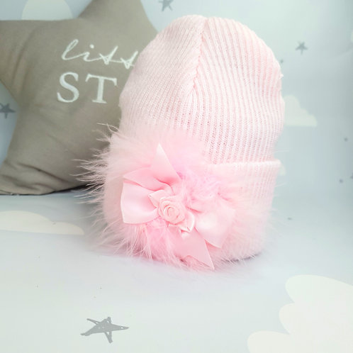 Pink Marabou Rosette Hat