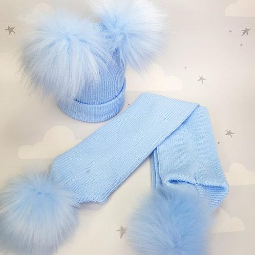 Pom Pom Hat and Scarf  Set, Blue